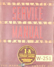 Warner Amp Swasey 1 A M 470 Turret Lathe Service And Parts Manual 1941