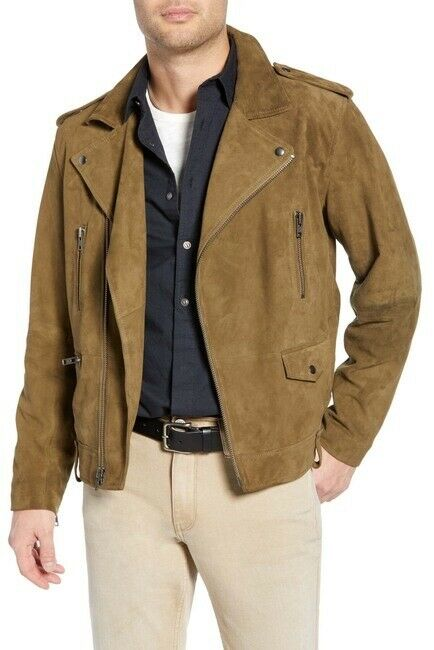 $349- Nwt- Treasure And Bond Leather Suede Moto Jacket Olive Green - Large