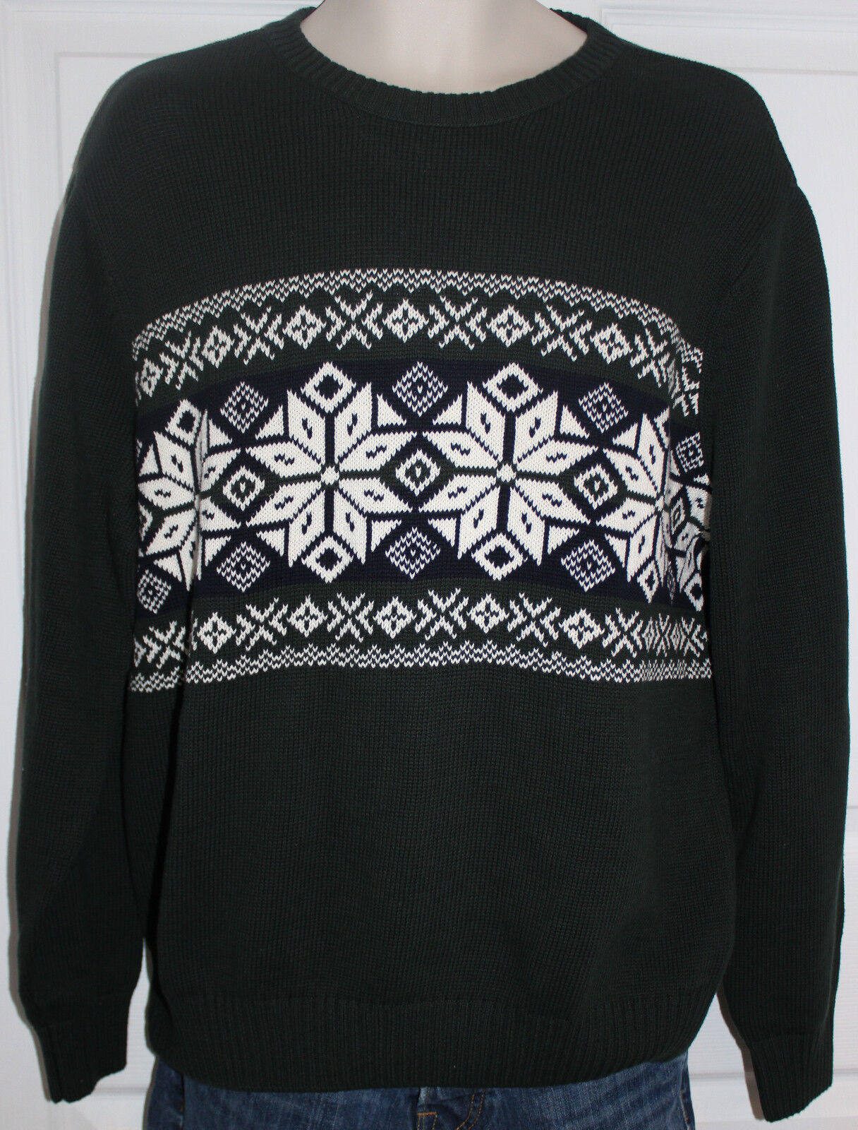 Dockers Men's L Ugly? Green Navy White Christmas Snowflake Sweater Ski NWT $65