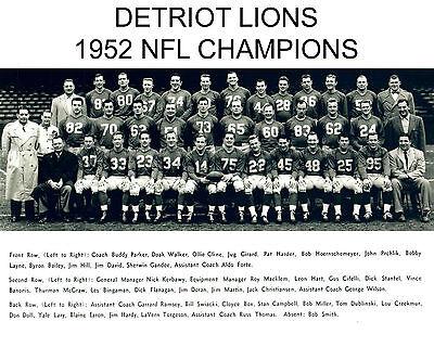 Detroit Lions - 1952 NFL Champions, 8x10 B&W Team Photo