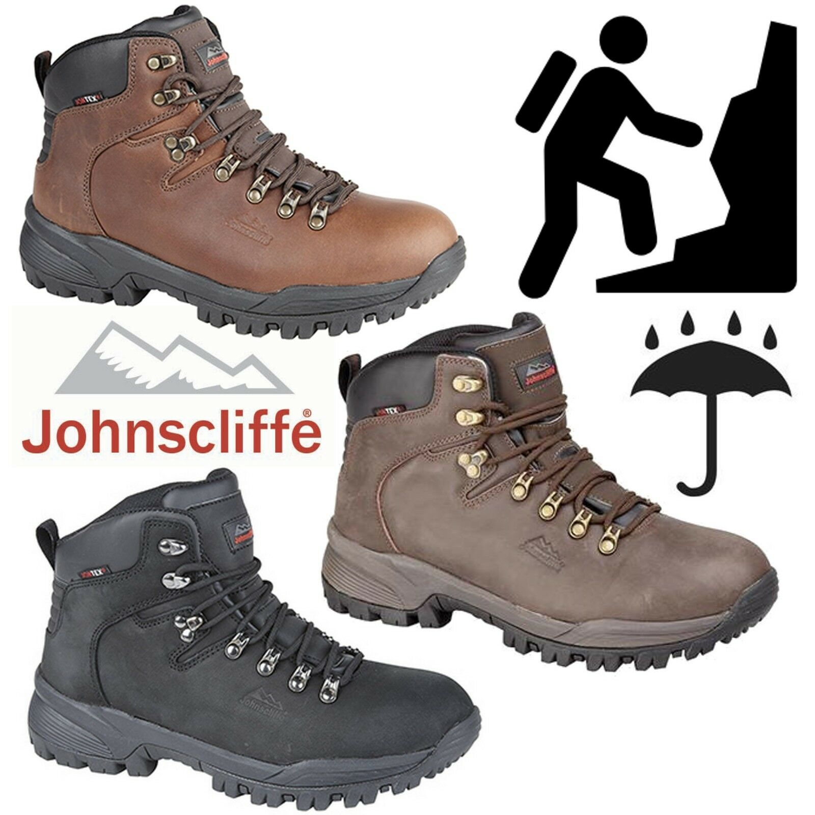 Johnscliffe Mens Canyon Leather Hiking Stiefel Boys Hillwalking Trail Trek schuhe