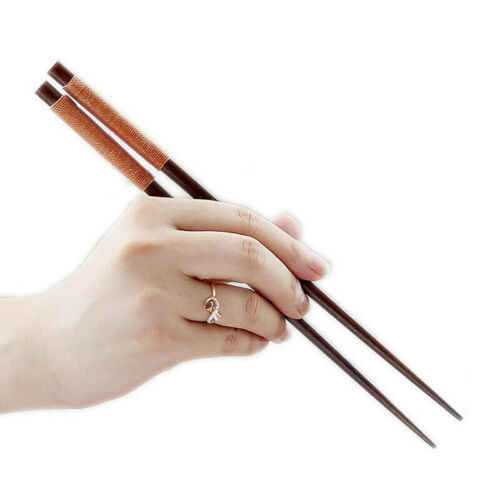 6 Pairs Wood Japanese Chinese Classic Reusable Chopsticks Set Gift Brown Wooden