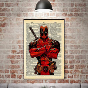 Image Is Loading Animation Style Deadpool Print Wall Art Oil Painting