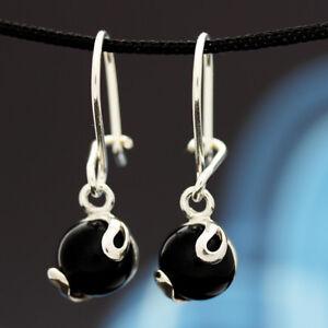 Onyx-Silber-925-Ohrringe-Damen-Schmuck-Sterlingsilber-H186
