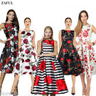 ZAFUL Women Vintage Retro Flower Floral Print Dresses 50s Swing Rockabilly Dress