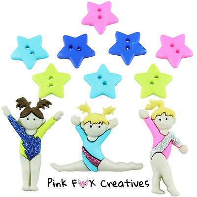 TINY TUMBLERS DRESS IT UP NOVELTY CRAFT BUTTONS GYMNAST DANCER SPORT HOBBY CUTE