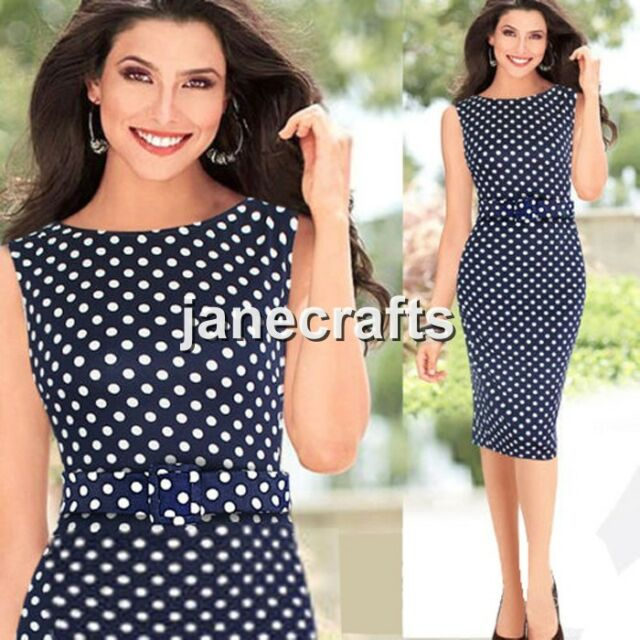 Women Belt Polka Dot Bodycon Slim Work Party Cocktail Evening Shift Pencil Dress