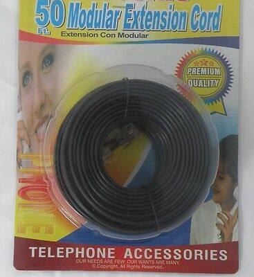 50 ft telephone phone cord line rj11 extension black wire modular new