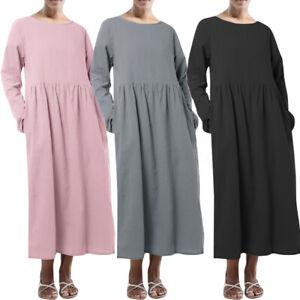 ZANZEA-Women-Long-Sleeve-Crew-Neck-Long-Shirt-Dress-Plain-Midi-Dress-Plus-Size