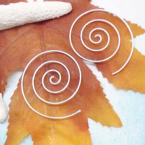 Spirale-Ringe-rund-Design-Ohrringe-Ohrhaenger-Haenger-925-Sterling-Silber-neu