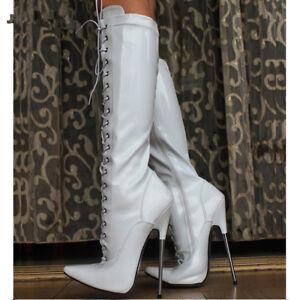 best service ccfbf a9a83 Details about Women 18cm ultra High Heel Metal Heel Cross-tied knee-High  White Ballet Boots