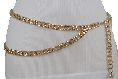 Women Gold Chunky Metal Chain Links Fashion Belt Side 2 Strands Plus Size M L XL