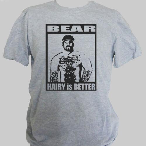 HAIRY BEAR GAY PARTY CLUBBING T-SHIRT unisex grey S-3XL