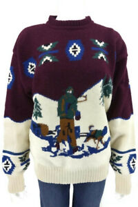 Lord-amp-Taylor-Vintage-Shetland-Wool-Sweater-Dogsled-Ralph-Lauren-Handknit-Size-L
