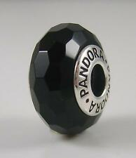 Authentic Genuine Pandora Silver Black Faceted Glass Murano 791069