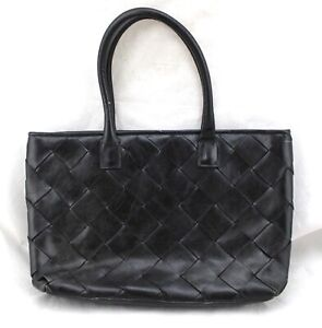 WILSONS-LEATHER-Black-Woven-Crosshatch-Italian-Leather-Tote-Shoulder-Bag