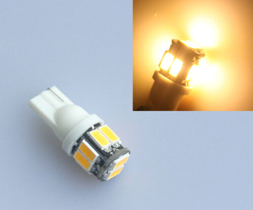T10 10 LED 5630 SMD W5W 501 Warm White Side Light Wedge Tail Lamp Bulb 3300K 12V