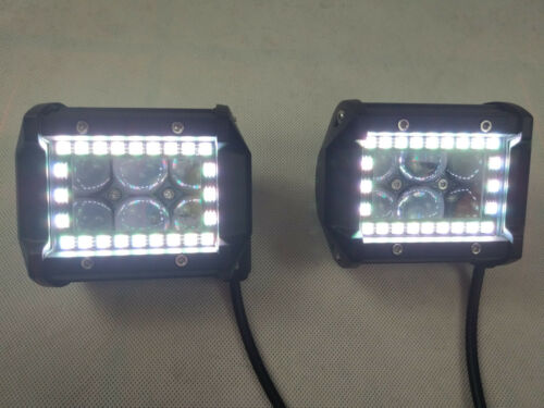 "2x 4/"" INCH Led Work Light Spot Fog Pods with Chasing RGB Halo Bluetooth APP"