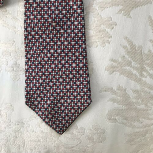 Vintage Dunhill Tailors Silk Red Blue Patterned Me