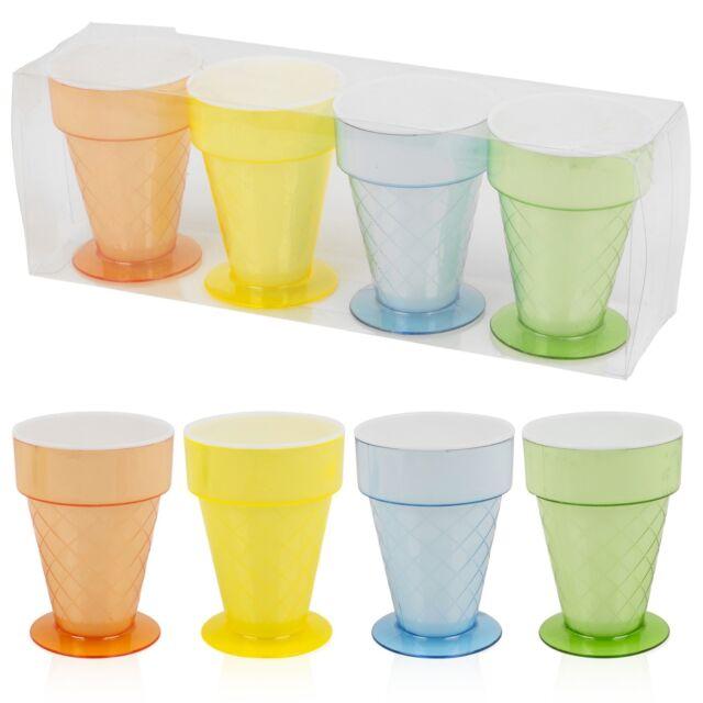 Set Of 4 Plastic Ice Cream Cups 300ml Fruit Punch Dessert Cone Dish Cup