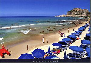 CARTOLINA-SICILIA-POSTCARD-SICILY-CEFALU-039-SPIAGGIA-E-MARE