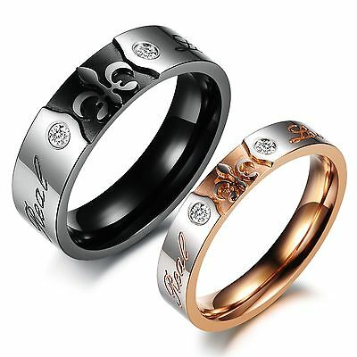 """Titanium steel Couple Rings """"Real Love"""" Carved His And Her Wedding Bands Set 384"""