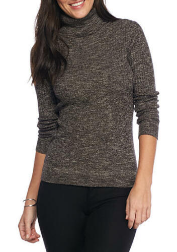 Sophie Max Studio 6B09396 Marled Black Stretch Rib Knit Turtleneck Sweater $78