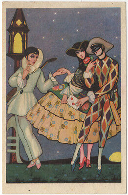 Chiostri Artwork Postcard Art Deco Masked Couple with Pierrot~92114
