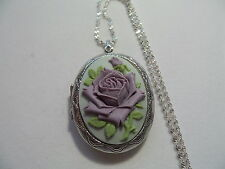 CAMEO ROSE LAVENDER ON GREY  LOCKET  STUNNING ( LARGE)
