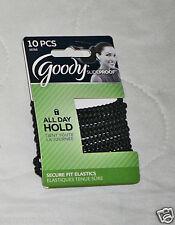 10 Goody StayPut Hair Tie Elastic Band Ponytailer Black No Slip Grip Slide Proof