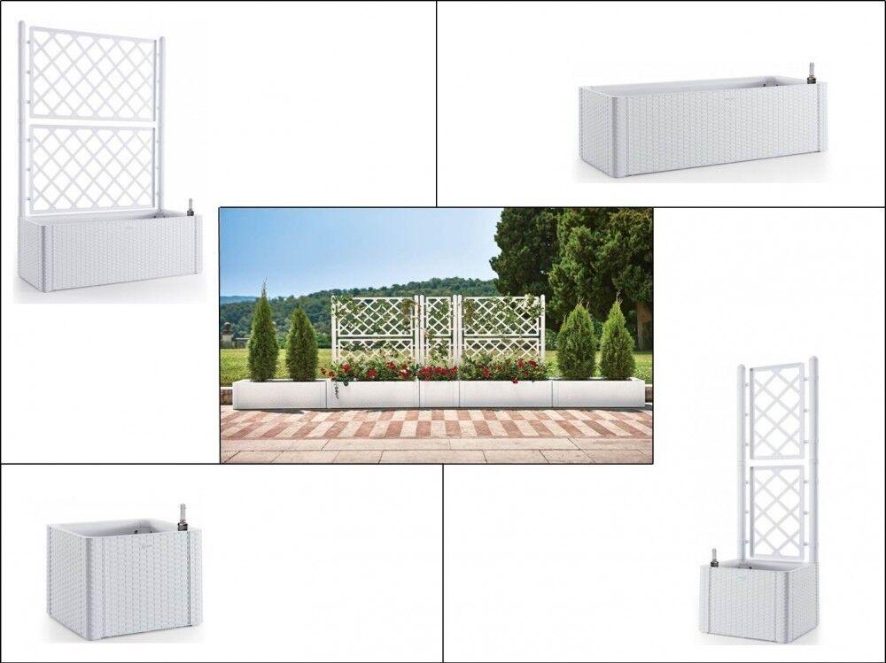 Pflanzkasten Spalier Rankgitter Sichtschutz Kunststoff Rattan Weiß Groß Garten