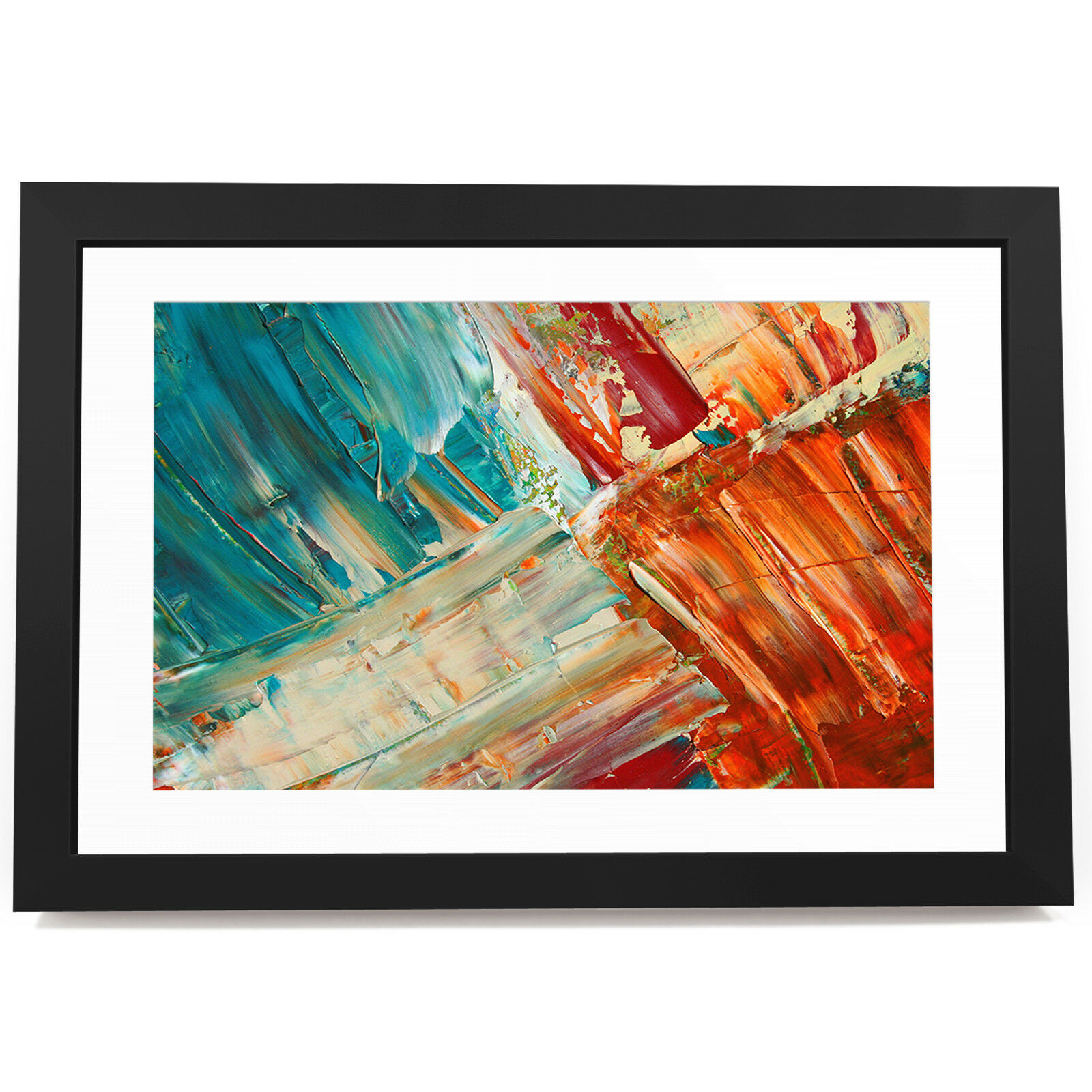 BF3AB1539 Retro Blau Orange Modern Abstract Framed Wall Art  Picture Prints