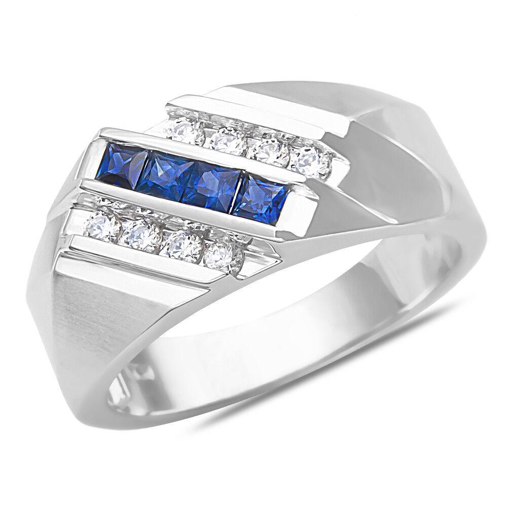 Men Princess-Cut Natural bluee Sapphire 8 Stone Diamond Ring 10K SOLID White gold