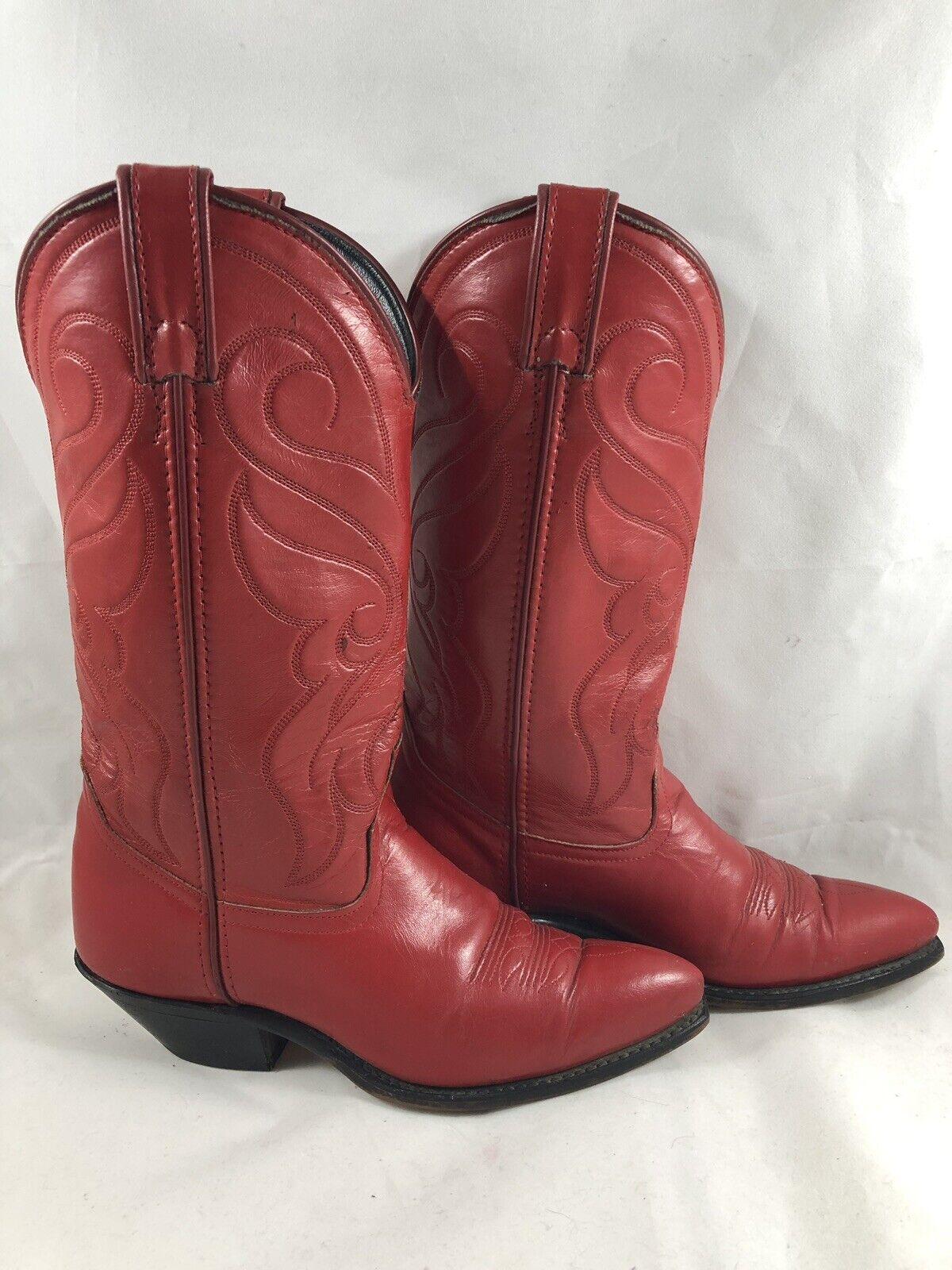 Santa Fe bota Co. para mujer  2 botas De Cuero M occidental Artesanal Rojo 5.5 M