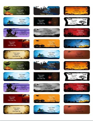 30 Personalized Return Address labels Halloween Buy 3 get 1 free All pics {ha6}