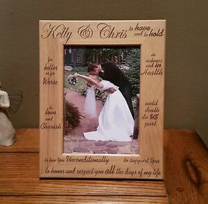 Laser Engraved Wedding Kelly & Chris Picture Frame 4x6 Photo Starting at 19.95