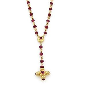 Vintage 18k yellow gold ruby cross pendant rosary beaded necklace ebay image is loading vintage 18k yellow gold ruby cross pendant rosary aloadofball Choice Image