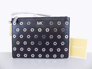 01fa4e6f6531d6 MICHAEL KORS $128 POUCHES Black Clutch PURSE MD ZIP POUCH FLOWER ...