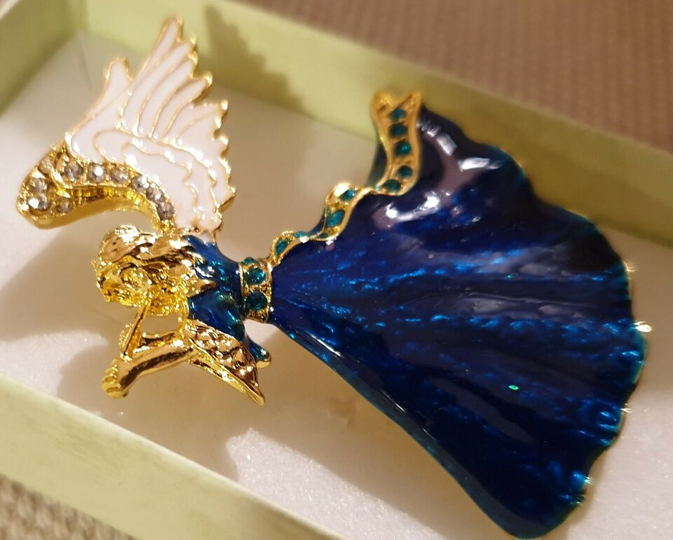 Broche, ædelsten, Smuk Blå Engel med krystaller
