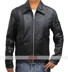 Hank-Moody-Real-Black-leather-Jacket-for-Men-039-s-100-Money-Back-Guarantee