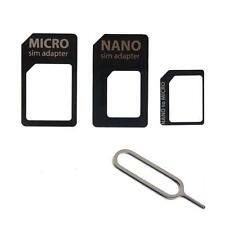 KIT 4in1 ADAPTER CARD ADATTATORI NANO MICRO SIM +PIN KEY IPHONE SAMSUNG GALAXY