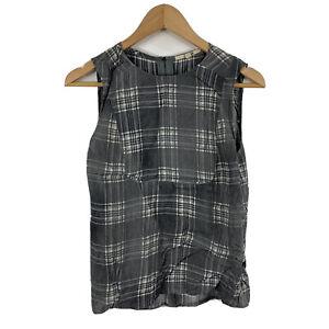 J-Brand-Womens-Top-Size-Small-Grey-Plaid-Sleeveless-Tank-Viscose-Silk-Blend