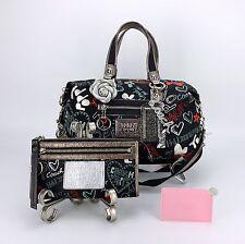 COACH 16200 POPPY GRAFFITI BLACK Convertible Bag Purse & Wristlet Wallet Set