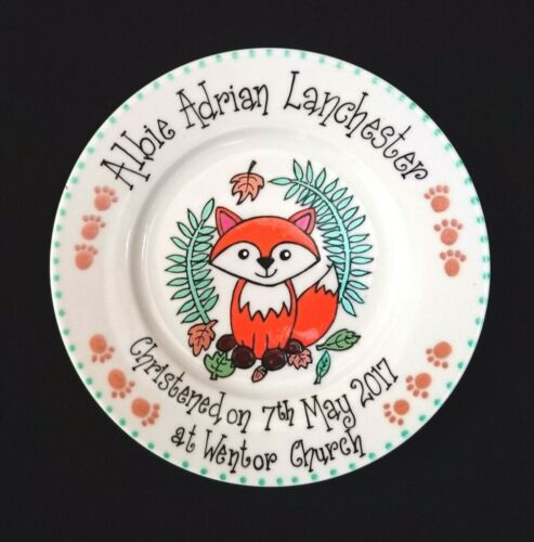 Fox Personalised Christening//Baptism//Naming Day//New Baby//Birth Gift Plate