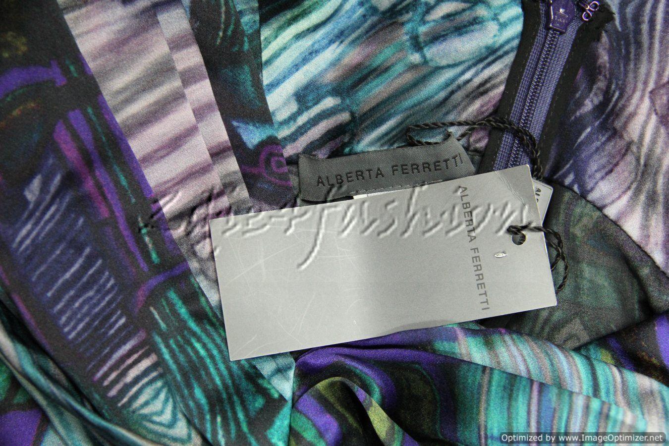 2390 New ALBERTA FERRETTI Purple Teal Teal Teal Silk Art Print Sexy Pleated Dress 40 4 0f17d2