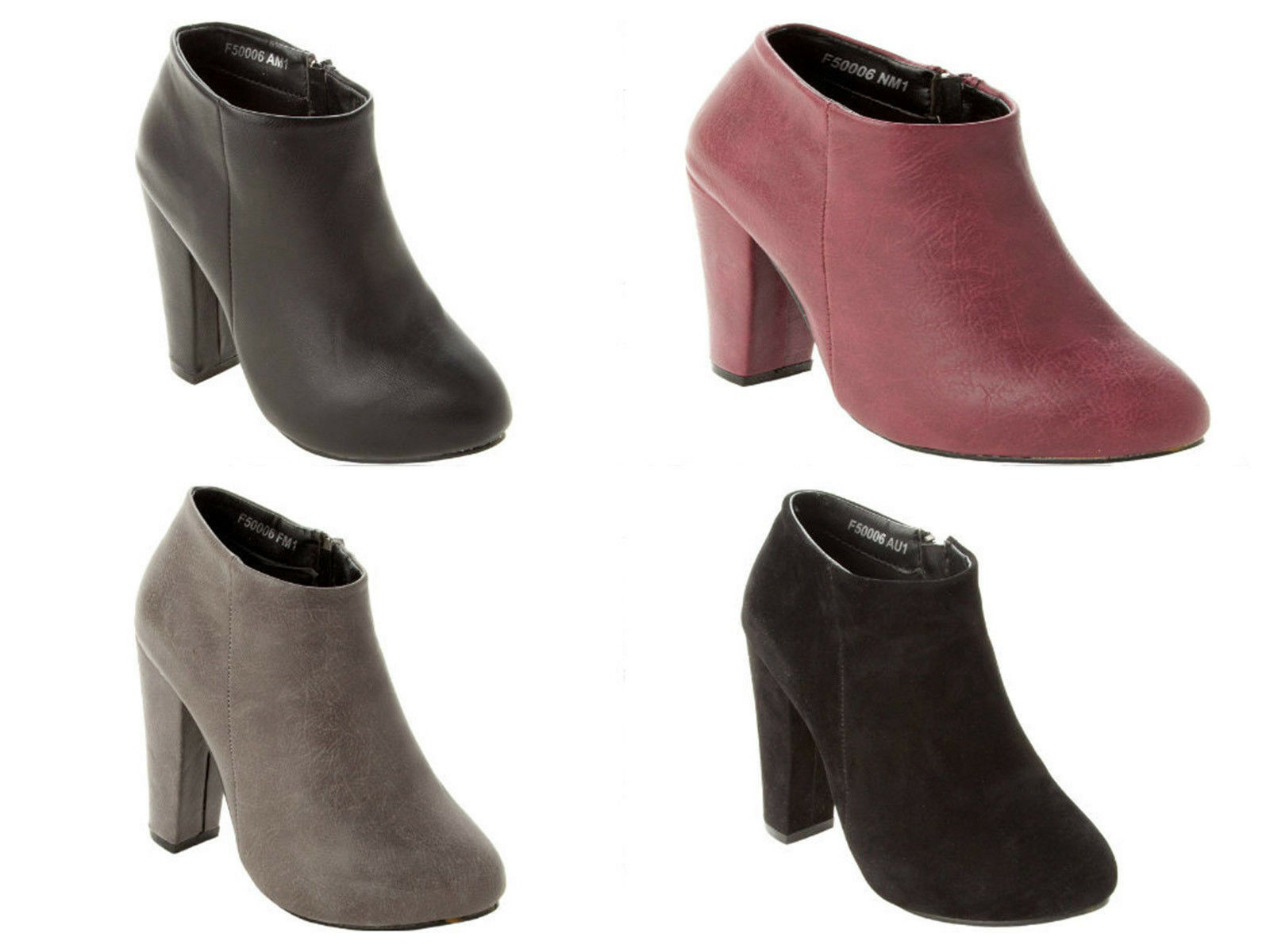 WOMENS FASHION BLOCK HEEL SIDE ZIP ANKLE BOOTS SHOES BOOTIES LADIES UK SIZE 3-8