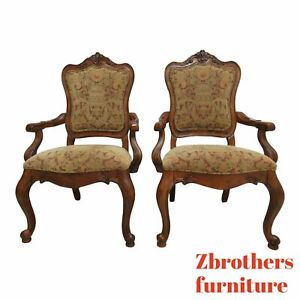 Pair-Ethan-Allen-Tuscany-Pretzel-Back-Dining-Room-Arm-Chairs-French-Carved