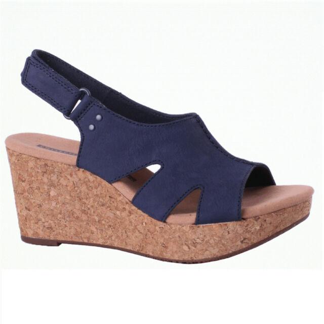 7c954ac19c Women's Clarks ANNADEL BARI 26132949 Navy Sticking Strap Wedge Sandal Shoes