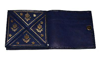 Moroccan Wallet Coin Genuine Leather Bi-fold Handmade Pocket Unisex XSmall Navy
