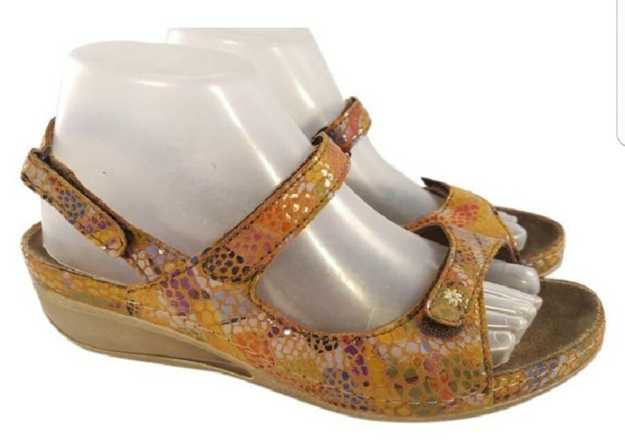 Size EUR 40/US 9  Wolky multicolor snake prints STRAPPY sandals EXCELLENT